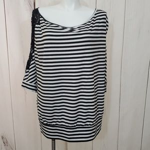 Torrid Striped Top Black White Lace 4 4XL Sexy Hot